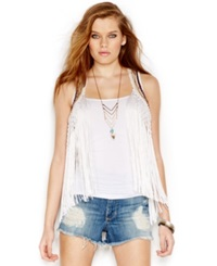Guess Embroidered Fringe Vest Milk Multi