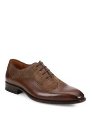 Mezlan Marti Printed Calf Suede Wingtip Oxfords Brown