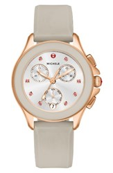 Michele Women's Cape Chronograph Silicone Strap Watch 34Mm Taupe Rose Gold