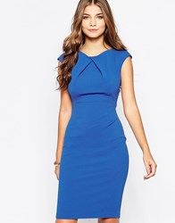 Vesper Avery Midi Pencil Dress Blue