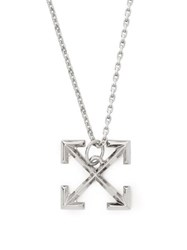 Off White Cross Arrow Small Pendant Necklace Silver