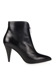 Saint Laurent Cat Zip Front Leather Ankle Boots