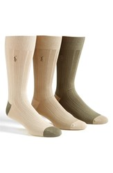 Men's Polo Ralph Lauren Ribbed Socks Beige 3 Pack Khaki Assorted
