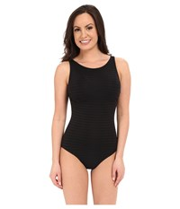 Jets By Jessika Allen Parallels High Neck Overlay One Piece Swimsuit Black Women's Swimsuits One Piece