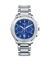 Piaget Polo S Stainless Steel Unisex Chronograph Bracelet Watch Silver Blue