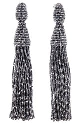 Oscar De La Renta Women's Long Tassel Drop Earrings Silver