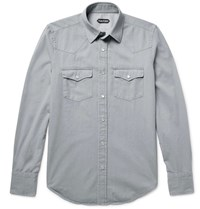 Tom Ford Slim Fit Washed Cotton Twill Western Shirt Gray