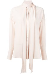 Chloe Neck Tie Blouse Nude And Neutrals