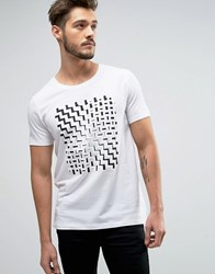 Hugo By Boss Dorved Zig Zag Print T Shirt White
