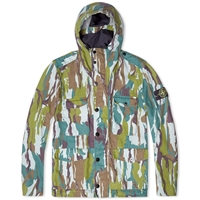 Stone Island Flowing Camo Hooded Field Parka Green Camo
