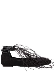 Ann Demeulemeester 10Mm Feather Suede Lace Up Ballerinas Black