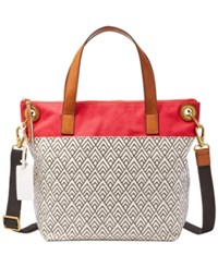 Fossil Keely Large Tote White Black