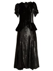 Erdem Dianthia Striped Velvet Midi Dress Black