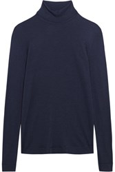 Hanro Silk And Cashmere Blend Jersey Turtleneck Top Storm Blue