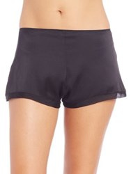 Josie Natori Stretch Silk Charmeuse Sleep Shorts Black Sweet Blush