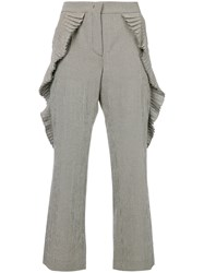 Marco De Vincenzo Pleated Gingham Trousers White