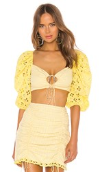 For Love And Lemons Picnic Crop Top In Yellow. Sunshine