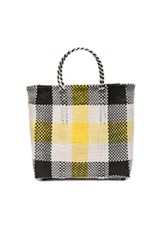 Truss Medium Tote In Yellow White Checkered And Plaid Yellow White Checkered And Plaid