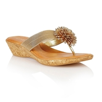 Lotus Althea Toe Post Sandals Gold