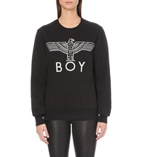 Boy London Eagle Applique Cotton Jersey Sweatshirt Black