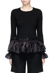 Opening Ceremony Organdy Ruffle Floral Jacquard Top Black