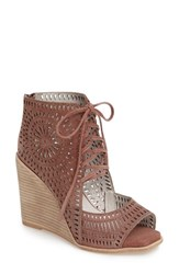 Jeffrey Campbell Women's Rayos Perforated Wedge Sandal Dark Pink Suede
