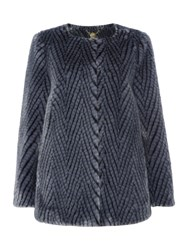 Biba Chevron Faux Fur Collarless Short Coat Blue
