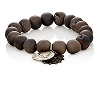 Miracle Icons Men's Druzy Agate Bead And Charm Bracelet Silver