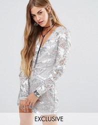 Young Bohemians Long Sleeve Party Playsuit In Sequin Lace Silver