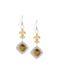 Jude Frances Fleur De Lis Citrine Drop Earrings