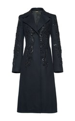 Alberta Ferretti Beaded Embroidered A Line Coat Black