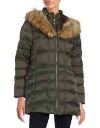 Betsey Johnson Faux Fur Trimmed Hooded Mid Length Puffer Coat Forest Green