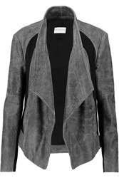 Dkny Draped Ponte Paneled Cracked Leather Biker Jacket Gray