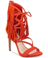 Guess Women's Abria Fringe Embellished Sandals Women's Shoes Orange Suede