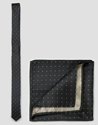Asos Skinny Tie And Pocket Square Pack With Gold Metallic Design Gold