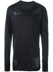 11 By Boris Bidjan Saberi Faux Leather Patched Top Black