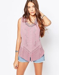 Brave Soul Denim Wash Sleeveless Shirt With Embroidered Detail Antique Rose Pink