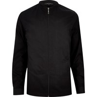River Island Mens Black Slim Bomber Baseball Jacket