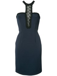 Yigal Azrouel Lace Inset Fitted Dress Blue