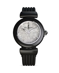 Charriol Ael Round Steel Watch 33Mm Black