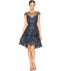 Marchesa Embroidered Cap Sleeve Cocktail Dress Navy