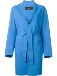Dsquared2 Single Breasted Coat Blue