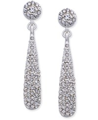 Inc International Concepts Silver Tone Teardrop Pave Drop Earrings Only At Macy's