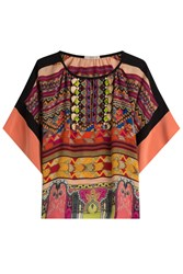 Etro Printed Silk Blouse With Fringes Multicolor