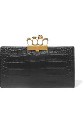 Alexander Mcqueen Knuckle Embellished Croc Effect Leather Clutch Black