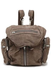 Alexander Wang Zip Detailed Suede Backpack Taupe