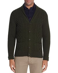 Brooks Brothers Lambswool Cable Knit Shawl Collar Cardigan Sweater Dark Green