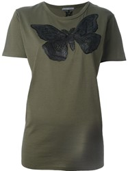 Alexander Mcqueen Moth Embroidered T Shirt Green