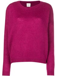 Alysi Long Sleeve Fitted Sweater Pink And Purple