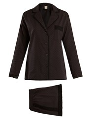 Morpho Luna Cara Cotton Plumetis Pyjama Set Black